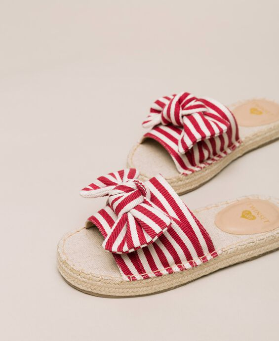 Striped canvas slippers with bow