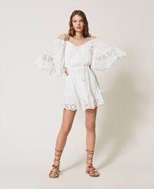 Robe Meknes épaules dénudées en mousseline avec broderie anglaise Off White Femme 211TT2701-01