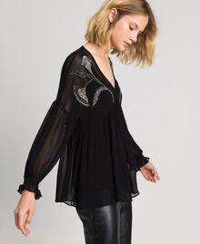 Blusa con bordado floral de strass y lentejuelas Negro Mujer 192TP2162-02