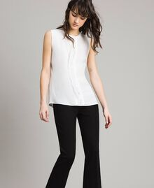 "Silk-mix and lace top ""Silk"" White Woman 191TP2261-01"