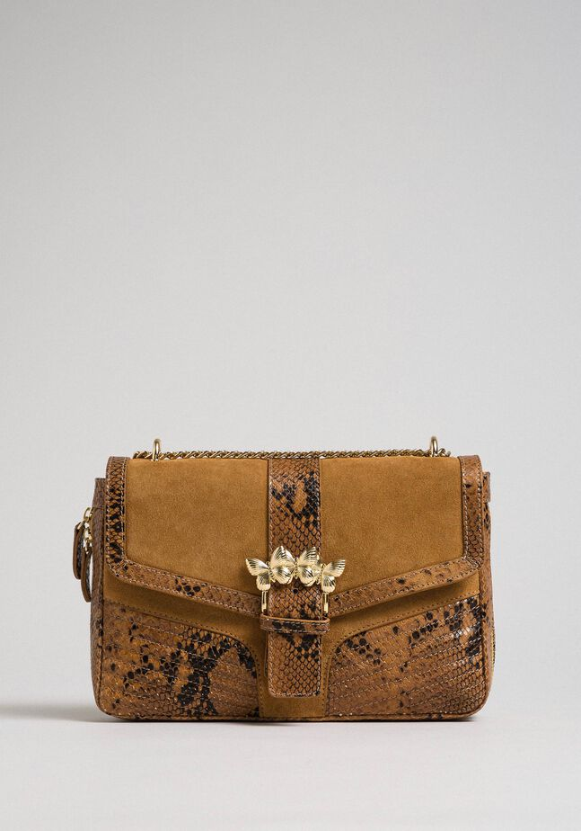 Large Rebel shoulder bag in suede and leather