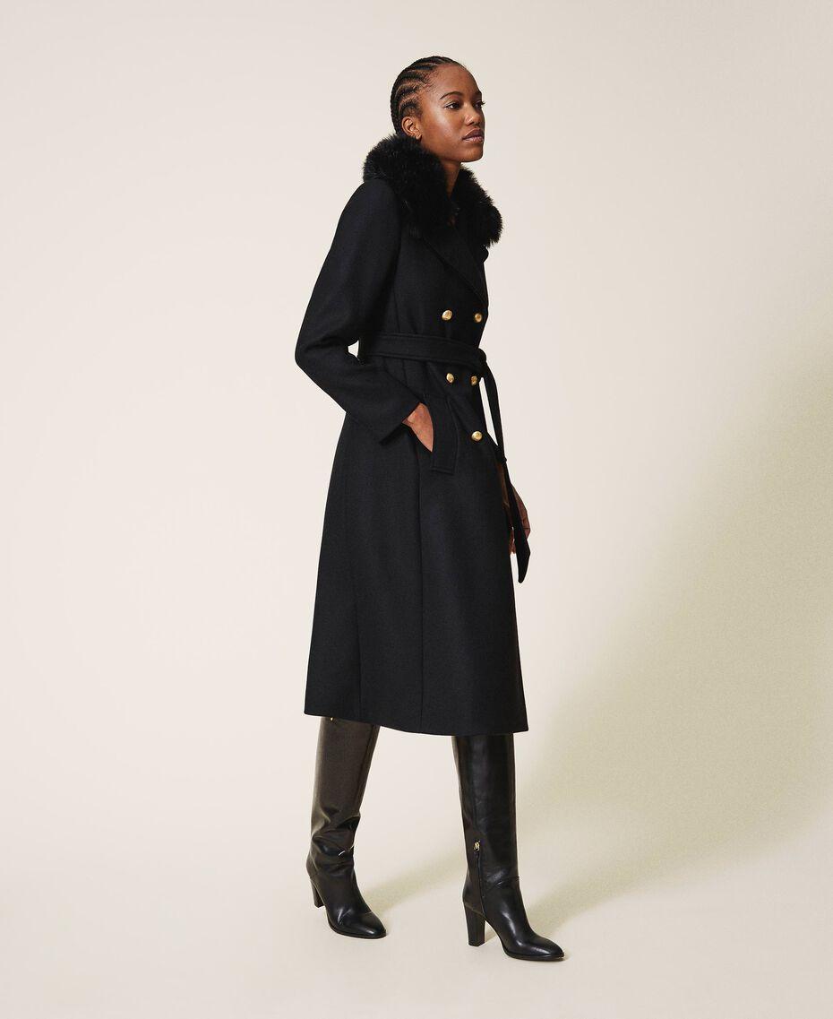 Manteau en drap de cachemire mélangé Noir Femme 202TT214A-02