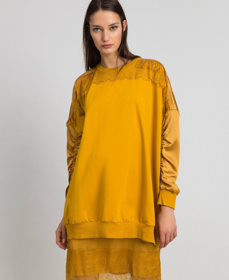 Satin maxi sweatshirt with lace and fringes Saffron Yellow Woman 192MP2271-02