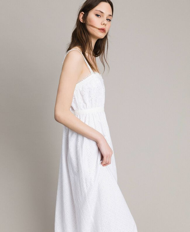 Broderie anglaise long dress with flounce White Woman 191MT2033-01