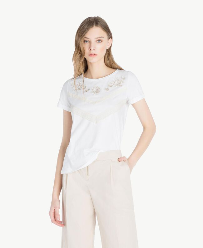 Embroidered T-shirt White Woman TS829N-01