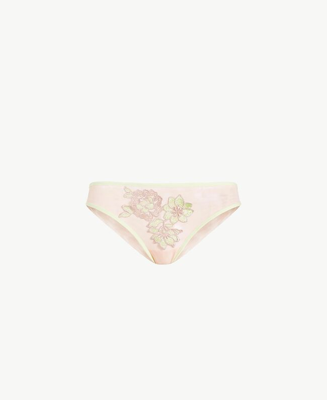 "Embroidered Brazilian briefs Two-tone ""Soft Lime"" Yellow / ""Peach Powder"" Pink Woman LS8F77-01"