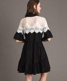 Popeline-Hemd-Kleid mit Spitzeneinlagen Schwarz Frau 191TT2121-03