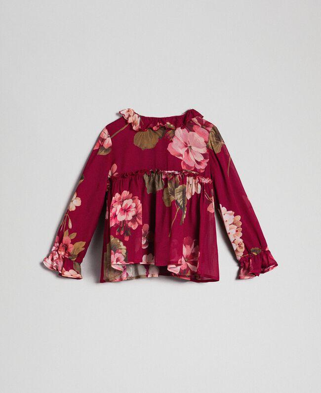 Bluse aus Georgette mit Blumenprint Print Rote-Bete-Rot Geranie Kind 192GB2721-01