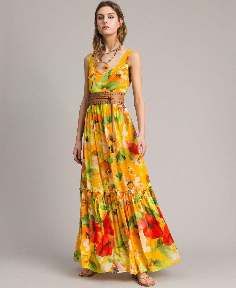 Georgette-Maxikleid mit Blumenmuster Motiv Gelbe Macro Blumen Frau 191TT2480-0T