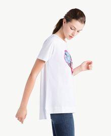 T-Shirt mit Herzprint Weiß Frau NS82AP-02