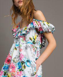 Kleid mit Blumenprint, Rüschen und Volant All Over Optisch Weiß Multicolour Flowers Motiv Frau 191MT2290-01