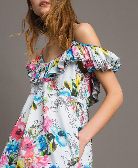 Robe avec imprimé floral et volant