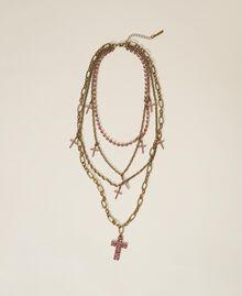 Multi-chain necklace with rhinestone crosses Black Diamond Grey Woman 202TA4316-01