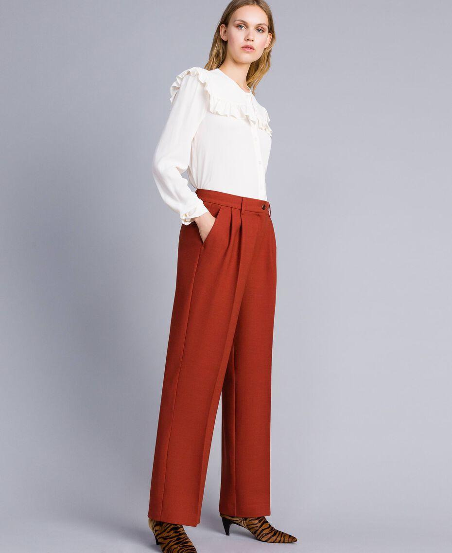 Pantaloni palazzo in lana bistretch Bruciato Donna TA8272-02