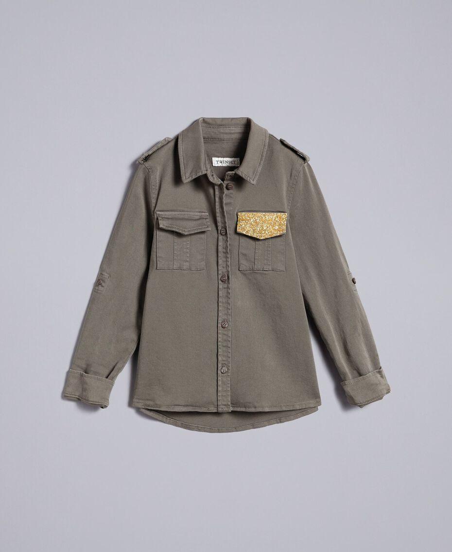 Рубашка из хлопка с блестящей отделкой Оливковый Pебенок GA827Q-01