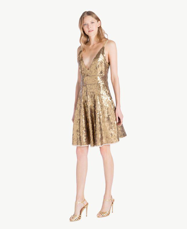 TWINSET Laminated sandals Gold Yellow Woman CS8TBG-05