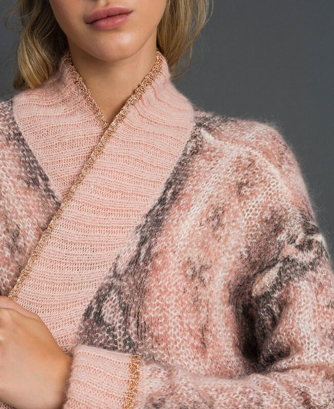 Maxi cardigan in mohair animalier Stampa Pitone Rosa Canyon Donna 192TT3331-04