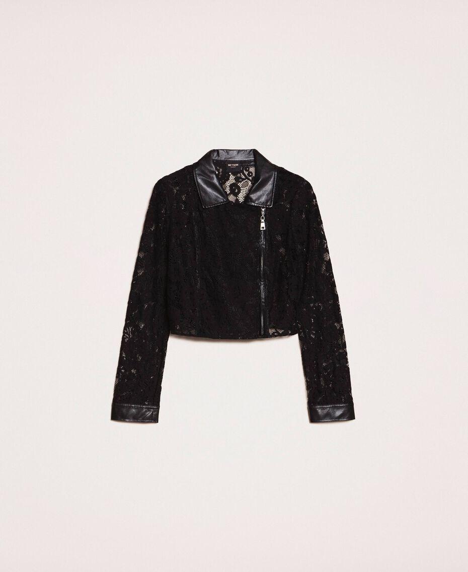 Байкерская куртка из кружева макраме Черный женщина 201MP2231-0S