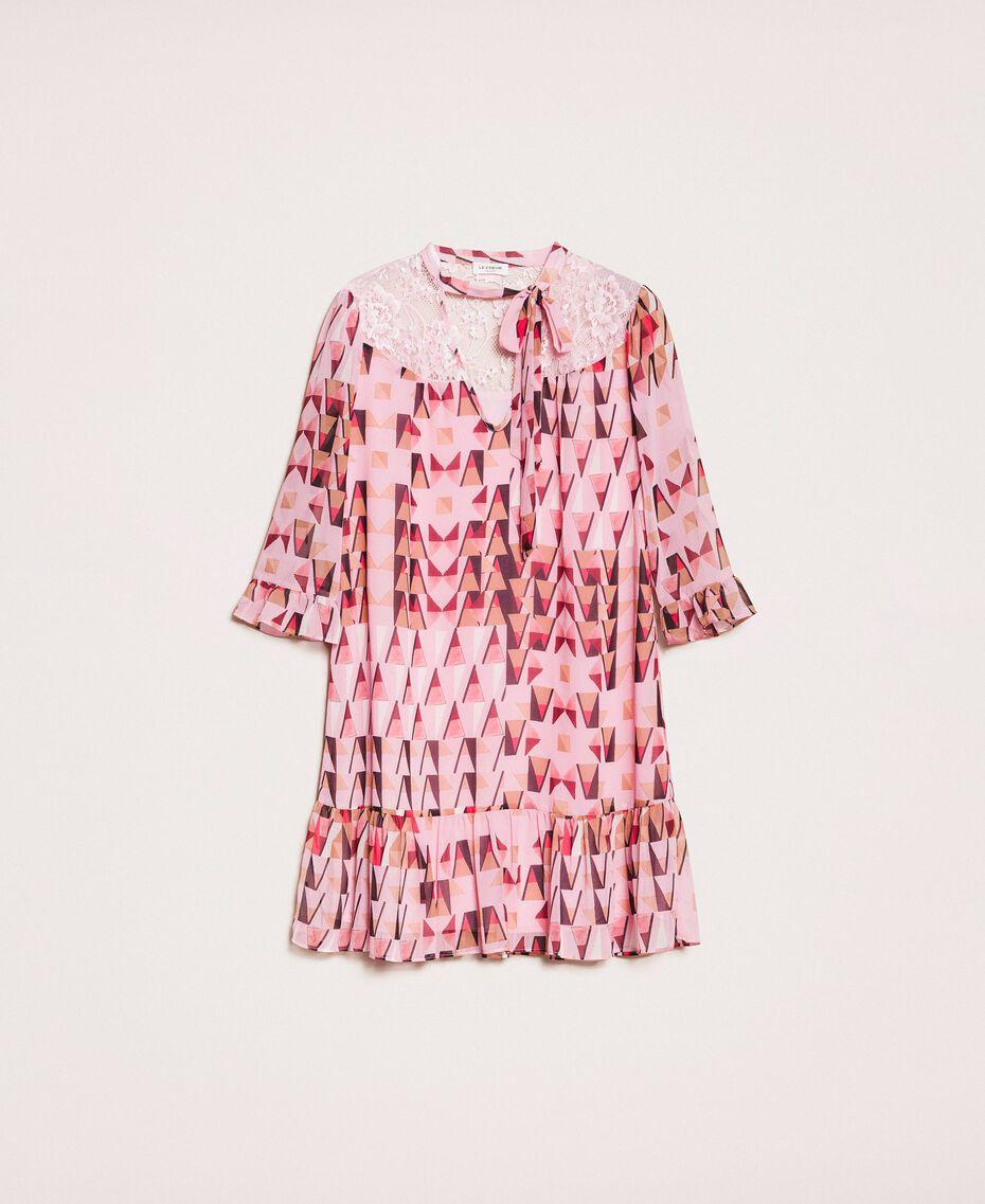 """Платье из набивного жоржета с кружевом Принт Геометрический Розовый """"Конфета"""" женщина 201ST2180-0S"""