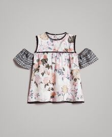 Floral viscose top with lace print Ramage Butterfly Print Child 191GJ2521-01