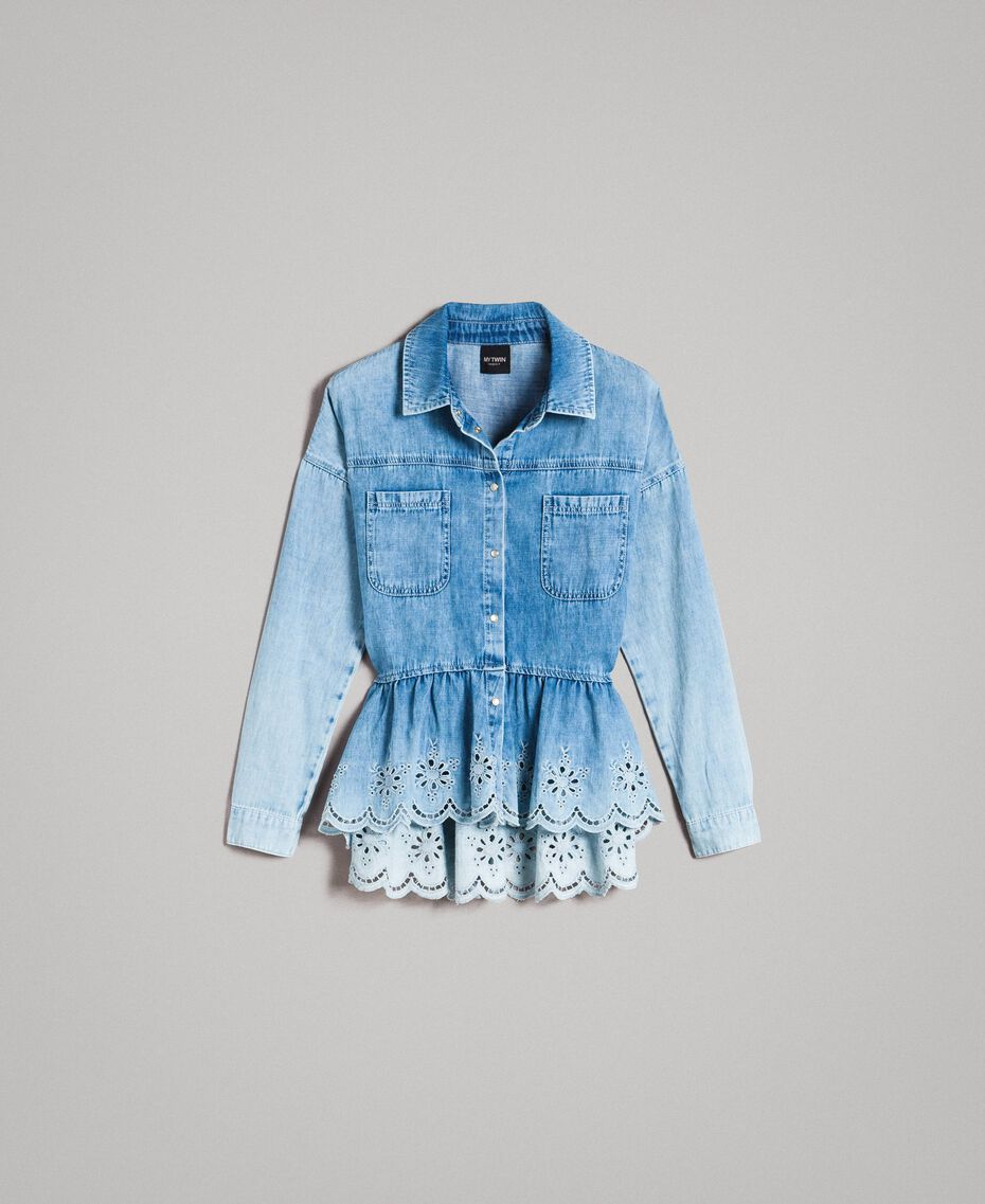 Denim shirt with broderie anglaise and flounce Denim Blue Woman 191MP2018-0S
