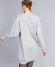 Maxi sweat en coton avec insertions en tulle Gris Mélangé Femme PA82CC-03