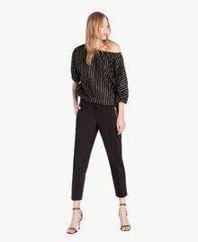 Pantalon satin Noir Femme TS826B-05