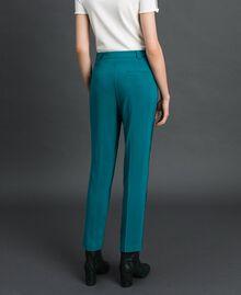 Pantalón pitillo de georgette Azul celeste Verde mineral Mujer 192TP2386-03