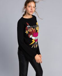 Piqué jacquard jumper with graphic Black Heart Jacquard Woman YA832B-02