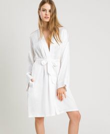Satin dressing gown Ivory Woman 191LL2DEE-02