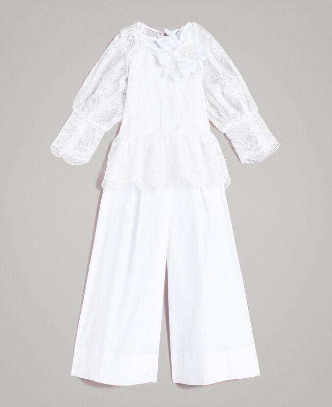 Popeline-Jumpsuit und Organza-Bluse Weiß Kind 191GJ2QB0-01