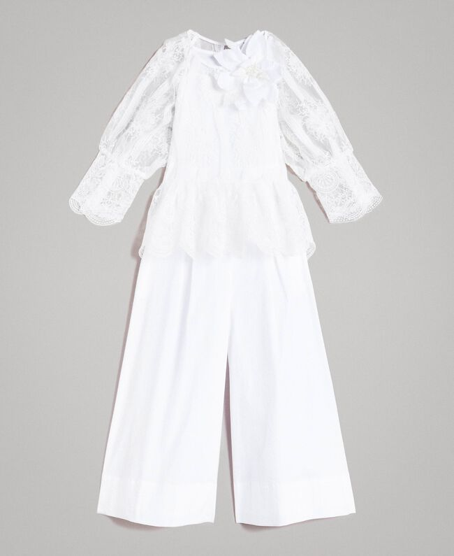 fc19f50bcca Poplin jumpsuit and organza blouse White Child 191GJ2QB0-01