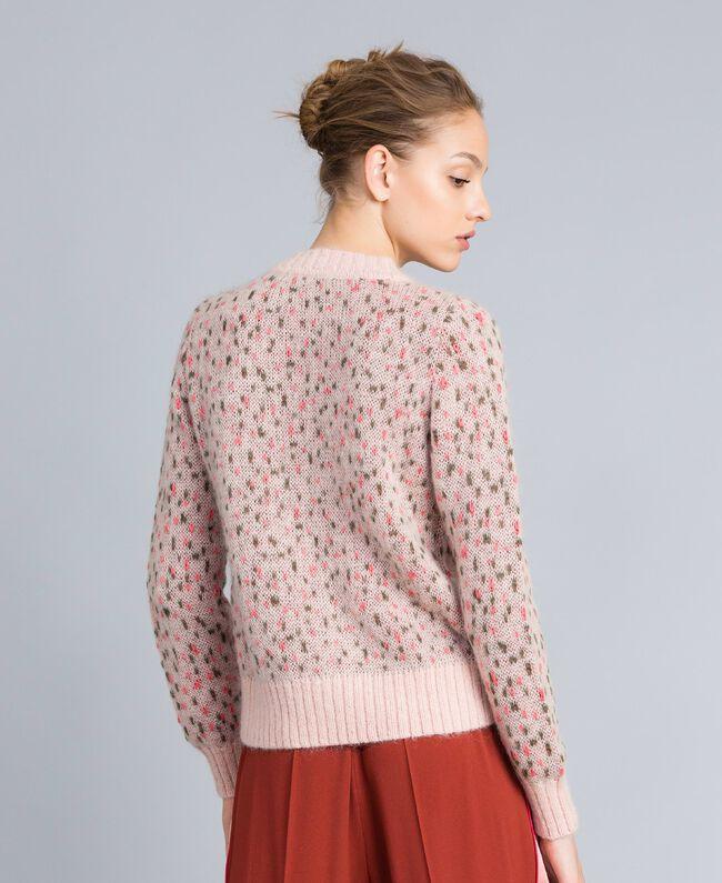 Pull jacquard floral et pois Jacquard Fleurs Rose Pâle Femme TA83CC-03