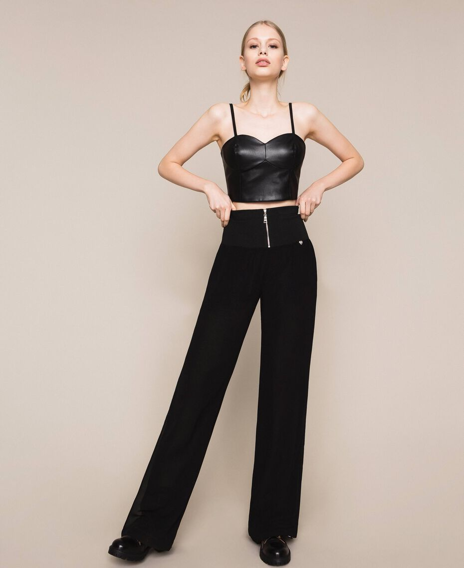 Georgette palazzo trousers Black Woman 201MT2071-02