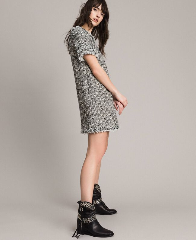 "Fringed tweed tunic dress Two-tone ""Snow"" White Bouclé / Black Woman 191TP2525-01"