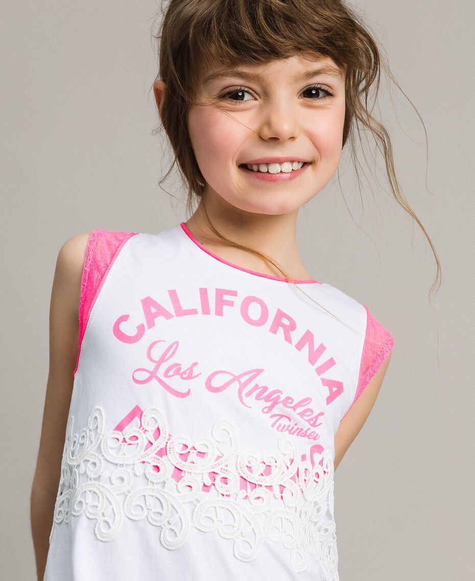 "Mini jersey dress with lace and print Two-tone Optical White / ""Crystal Pink"" Child 191GJ2044-0S"