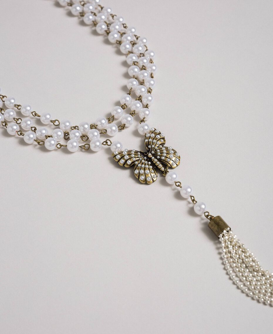 Collier avec rangées de perles et charm papillon Laiton Usé Femme 192TA4360-02