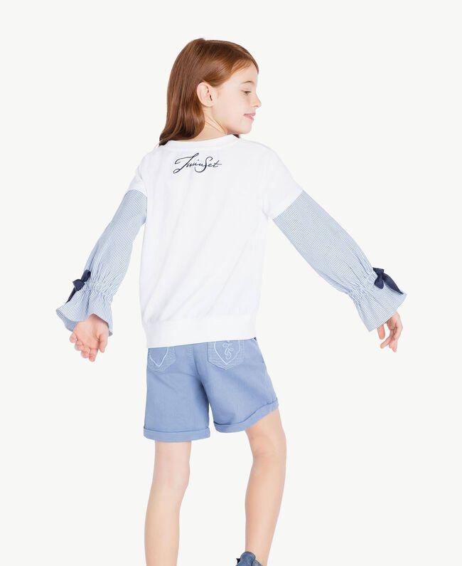 Sweatshirt aus Popeline Jacquard Papyrusweiß / Azur Kind GS82LU-04