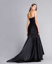Langes Kleid Schwarz Frau QS8TGE-03