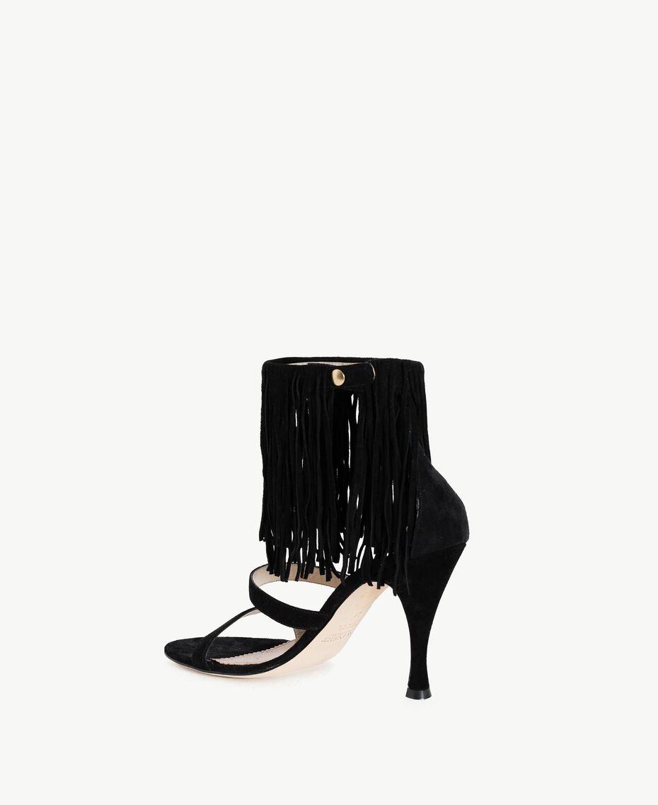 TWINSET Fringe sandals Black Woman CS8TA1-03