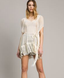 Mesh and lace stitch fringed poncho Ecrù Woman 191TT3061-02