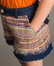 Shorts in denim con inserti Jacquard Bouclé / Denim Scuro Bambina 191GJ2021-04