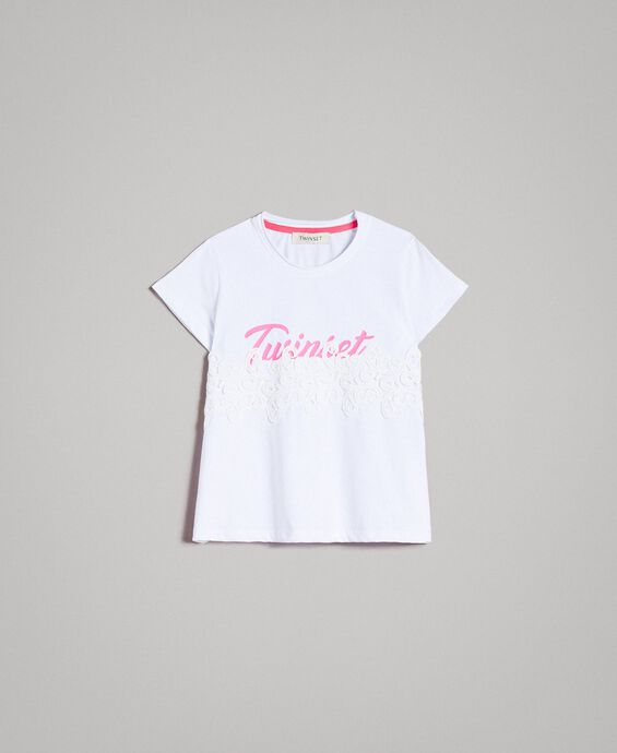 Jersey T-shirt with lace and print