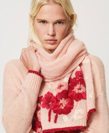 Knit scarf with flowers and sequins Peach Woman 202TA4411-0S