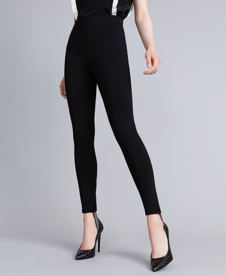 Milan stitch stirrup leggings Black Woman PA821B-02