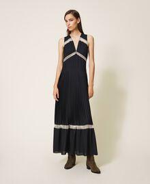 Длинное плиссированное платье с кружевом Черный женщина 202TP2133-01