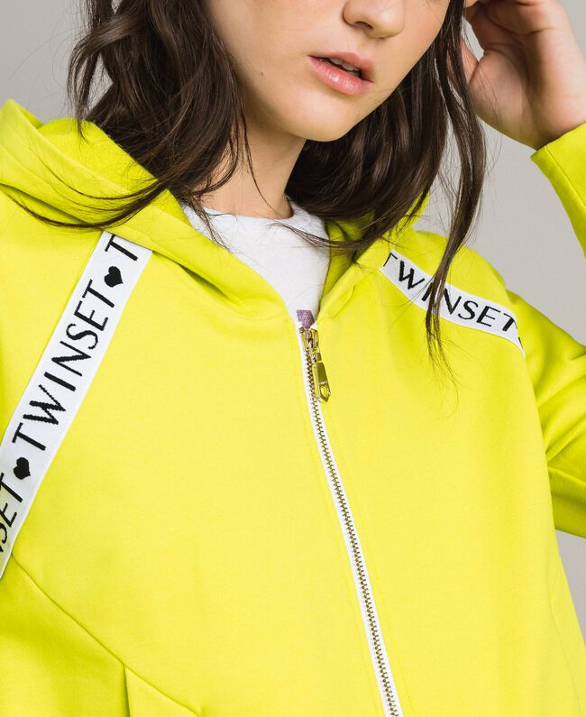"Fleece jacket with inserts and logo ""Lemon Juice"" Yellow Woman 191LL28CC-04"