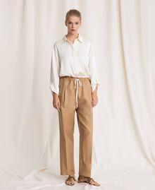 """Linen blend jumpsuit """"Dune"""" Beige Woman 201TP2253-02"""