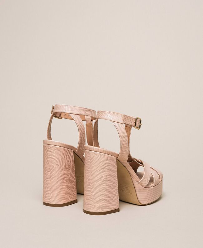 T-Bar-Sandalette aus Leder Blütenknospenrosa Frau 201TCP070-04