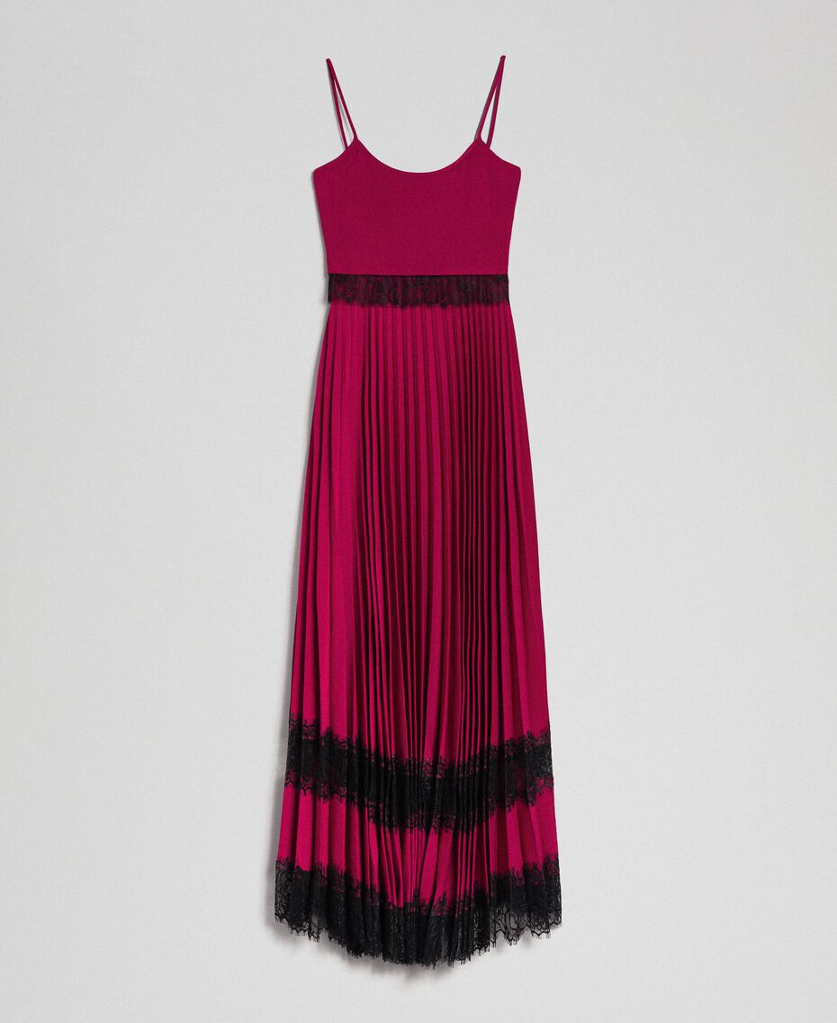 Lace slip dress Beet Red / Black Woman 192TP2282-0S